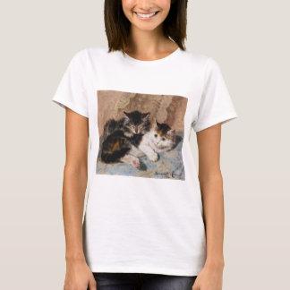 Calico Cat and Gray Kitten Fine Art Painting T-Shirt
