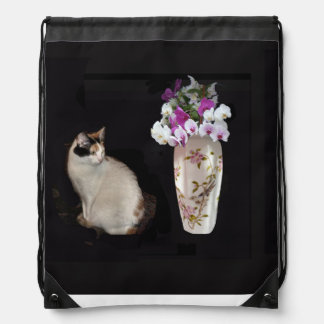 Calico Cat And Orchids Drawstring Bag