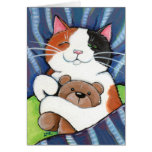 Calico Cat and Teddy Bear   Cat Art Greeting Card
