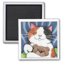 Calico Cat and Teddy Bear | Cat Art Magnet