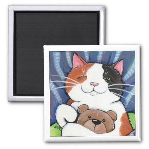 Calico Cat and Teddy Bear   Cat Art Magnet