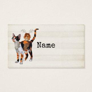 CALICO CAT & ANTLER OWL  Business Card