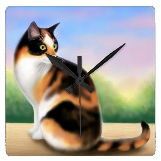 Calico Cat at Sunset Wall Clock