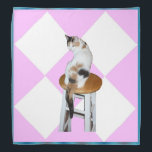 """Calico Cat Bandana<br><div class=""""desc"""">A calico cat on a pink and white diamond pattern and blue border is featured on this beautiful bandana</div>"""