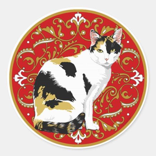Calico cat baroque classic round sticker zazzle - Stickers baroque pour meuble ...