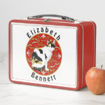 """Calico Cat Baroque Metal Lunch Box<br><div class=""""desc"""">Personalize your lunch box with your name surrounding a calico cat on a beautiful ornate background, from original artwork inspired by the artist's own cats. Artellus Artworks features ORIGINAL PAINTINGS &amp; ARTWORK by the artist - not stock photographs or clipart. All designs created and copyrighted by Artellus and contain a...</div>"""