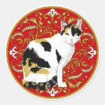 Calico Cat Baroque Round Sticker