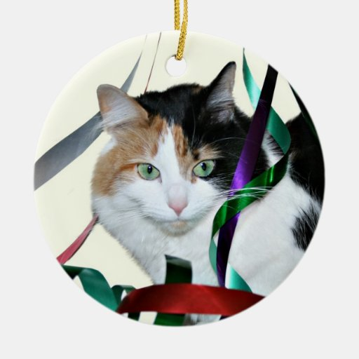 Calico cat Christmas ribbon Double-sided Ceramic Round Christmas Ornament
