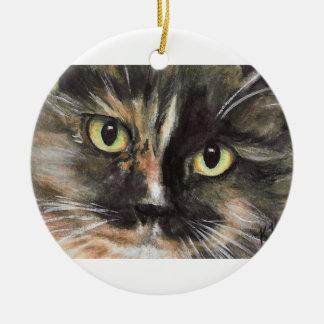 Calico Cat Face Christmas Ornament