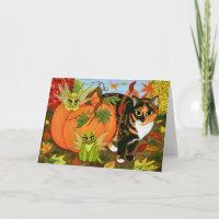 Calico Cat Fairy Cats Leaves Fall Autumn Art Card