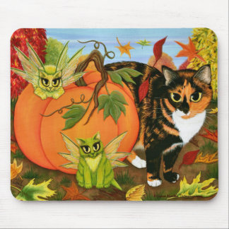 Calico Cat Fairy Cats Leaves Fall Autumn Art Mouse Mouse Pad