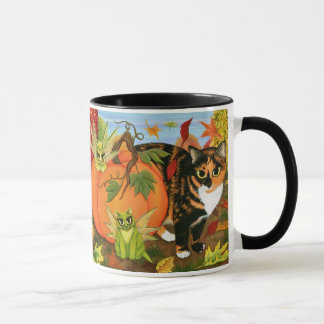 Calico Cat Fairy Cats Leaves Fall Autumn Art Mug