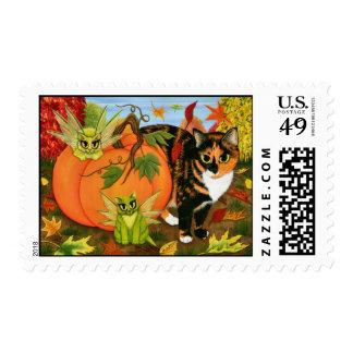 Calico Cat Fairy Cats Leaves Fall Autumn Art Posta Postage