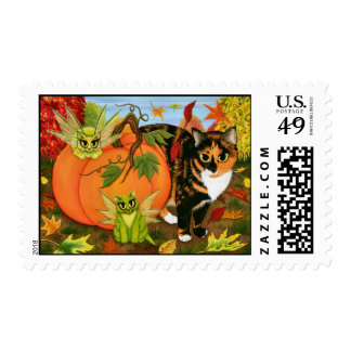 Calico Cat Fairy Cats Leaves Fall Autumn Art Posta Postage Stamps
