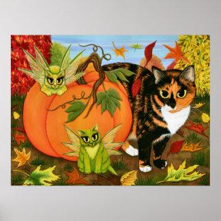 Calico Cat Fairy Cats Leaves Fall Autumn Art Print