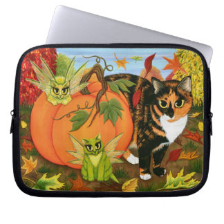 Calico Cat Fairy Cats Leaves Fall Laptop Sleeve