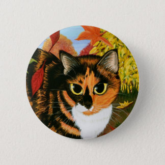 Calico Cat Fall Autumn Leaves Harvest Art Button