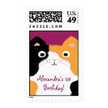 Calico Cat First Birthday Custom Stamp