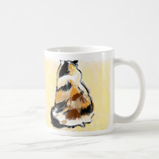 Calico cat from back coffee mugs