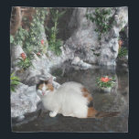 "Calico Cat In Garden Bandana<br><div class=""desc"">A calico cat is shown in a indoor garden</div>"