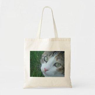 Calico Cat in grass Tote Bag