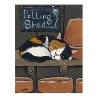 Calico Cat in the Potting Shed Postcard