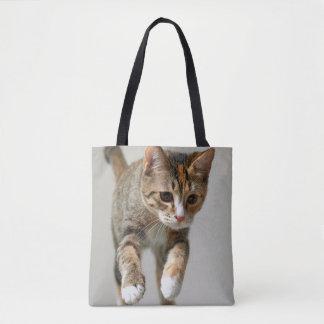 Calico Cat Jumping Tote Bag