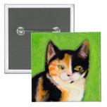 Calico cat kitten art fun cute original drawing pinback buttons