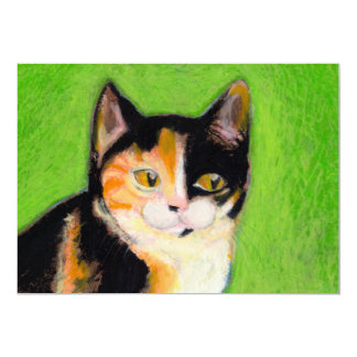 Calico cat kitten art fun cute original drawing card