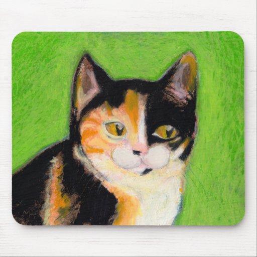 Calico cat kitten art fun cute original drawing mouse pad