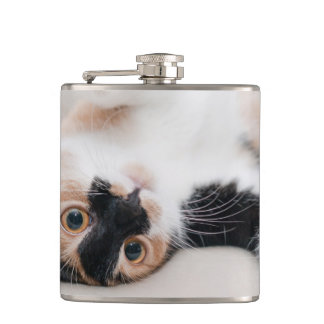 Calico Cat Laying on his back with paws up Hip Flask