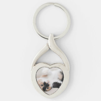 Calico Cat Laying on his back with paws up Silver-Colored Heart-Shaped Metal Keychain
