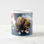 calico cat licking hind legs extra large mugs