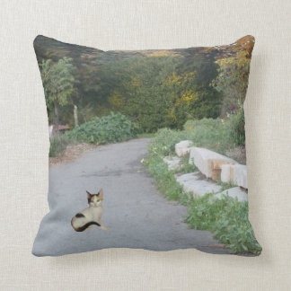Calico Cat On Road Throw Pillow