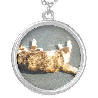calico cat on side facing away silver plated necklace