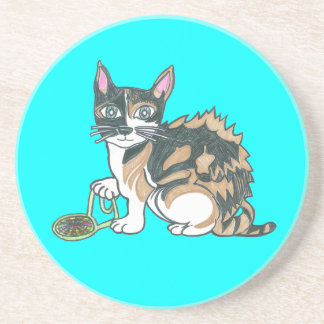 Calico Cat on the prowl Drink Coaster