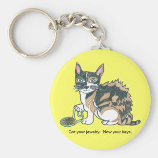 Calico Cat on the prowl Keychain