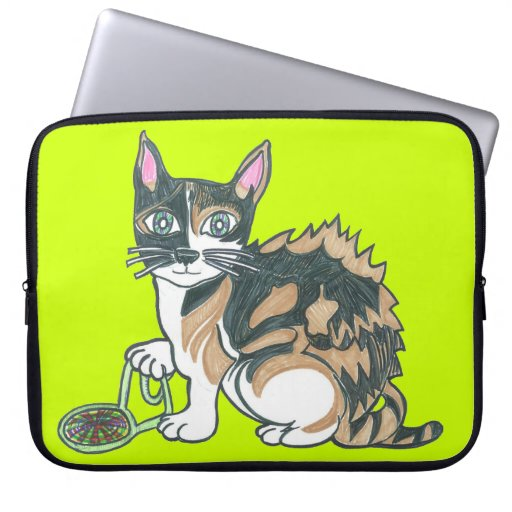 Calico Cat on the prowl Laptop Sleeve