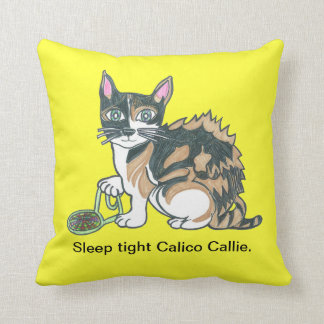 Calico Cat on the prowl Throw Pillow