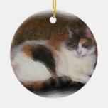 Calico Cat Double-Sided Ceramic Round Christmas Ornament