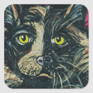 Calico Cat Painting by Ania M Milo Square Sticker