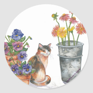 """Calico Cat Pansies Daisies Watercolor """"Don Juan"""" Classic Round Sticker"""