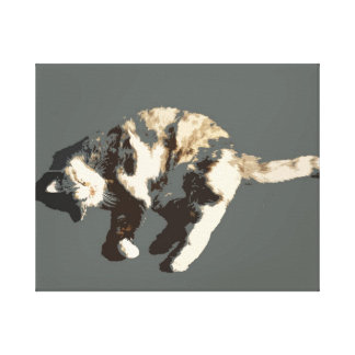 calico cat posterized grey back on side.jpg gallery wrapped canvas