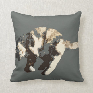 calico cat posterized grey back on side.jpg pillow