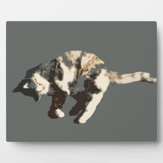 calico cat posterized grey back on side.jpg plaque