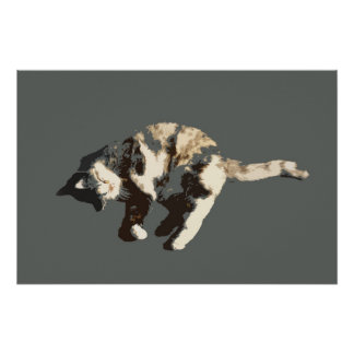 calico cat posterized grey back on side.jpg poster