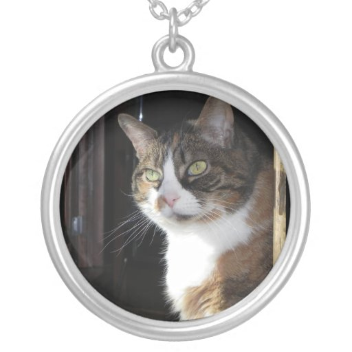 Calico Cat Round Pendant Necklace