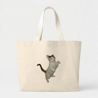 Calico Cat Sit Ups Large Tote Bag