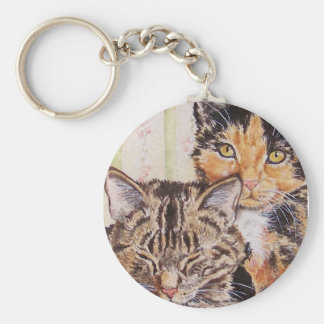 Calico Cat & Tiger Tabby Keychain