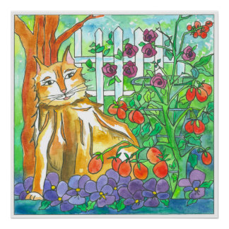Calico Cat Tomato Garden Watercolor Painting Poster